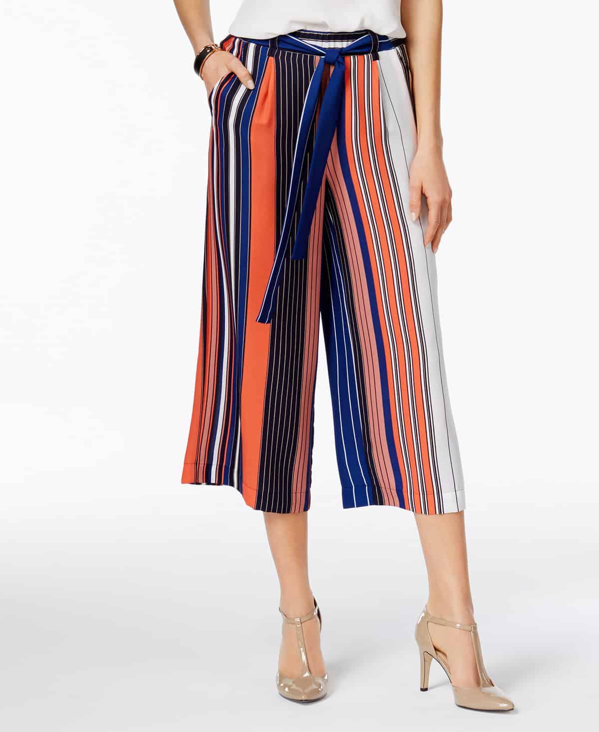 striped tie-waist culottes