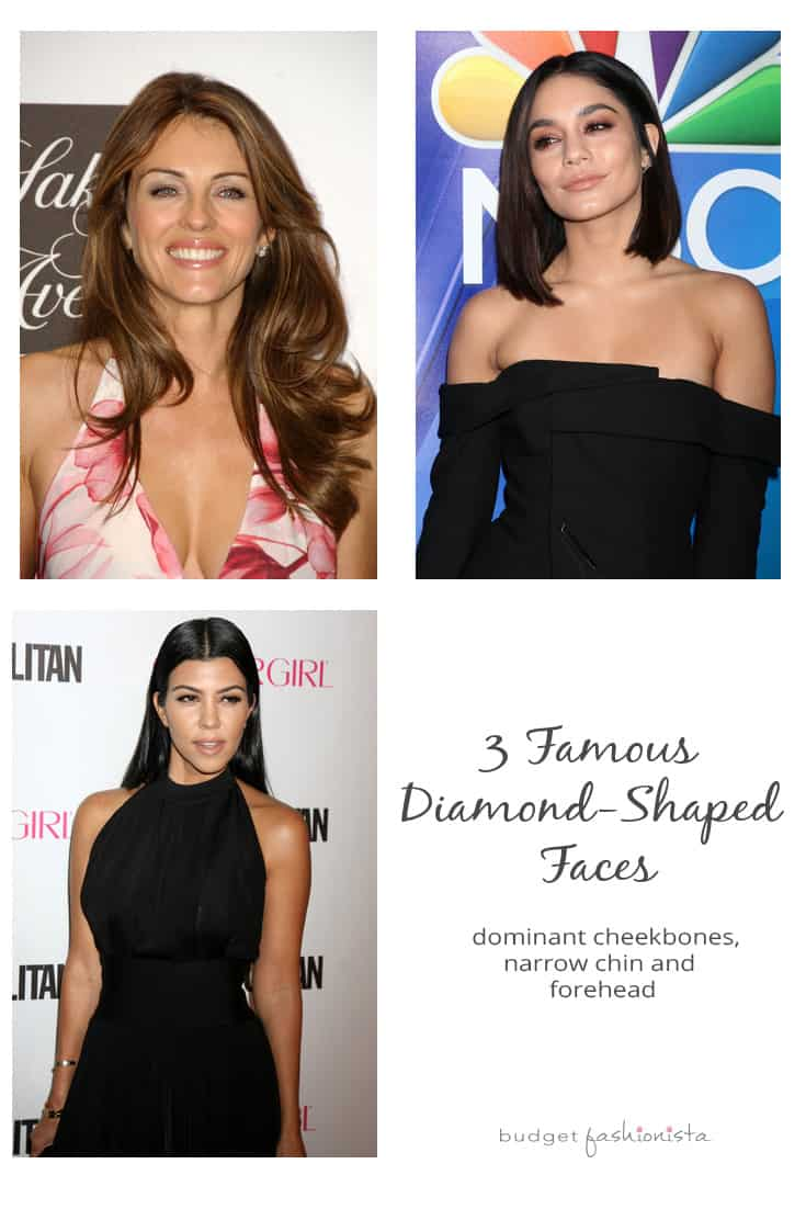 Elizabeth Hurley, Vanessa Hudgens and Kourtney Kardashian have diamond-shaped faces.