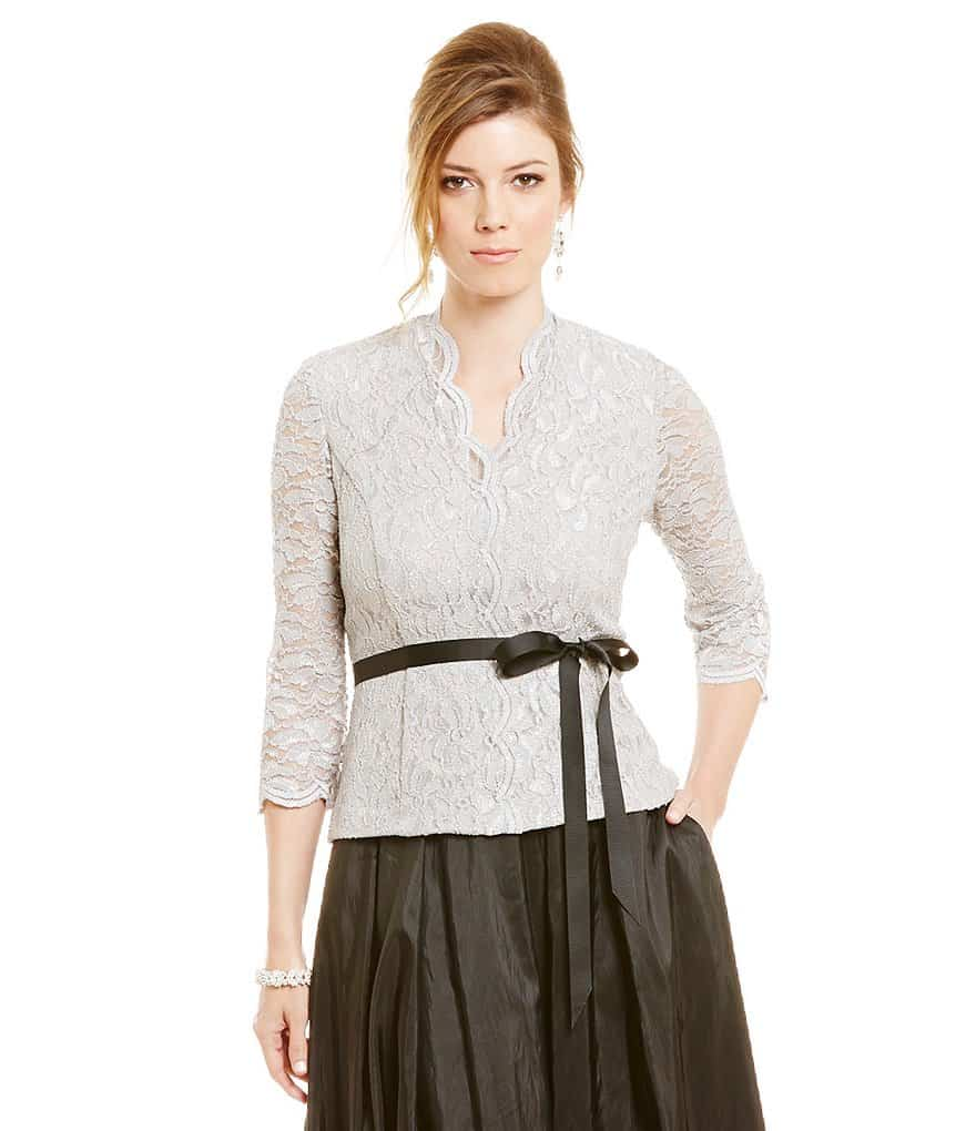 oscars style - lace top tied at waist