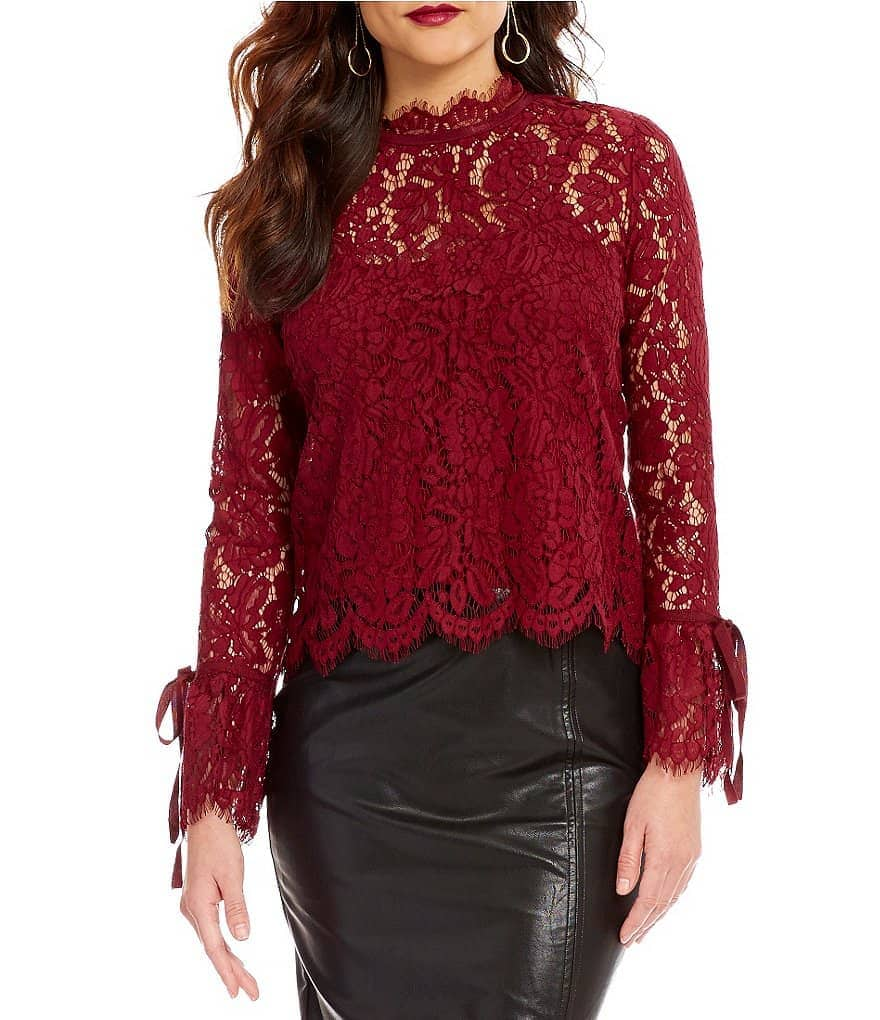 oscars style - red lace top from Dillard's
