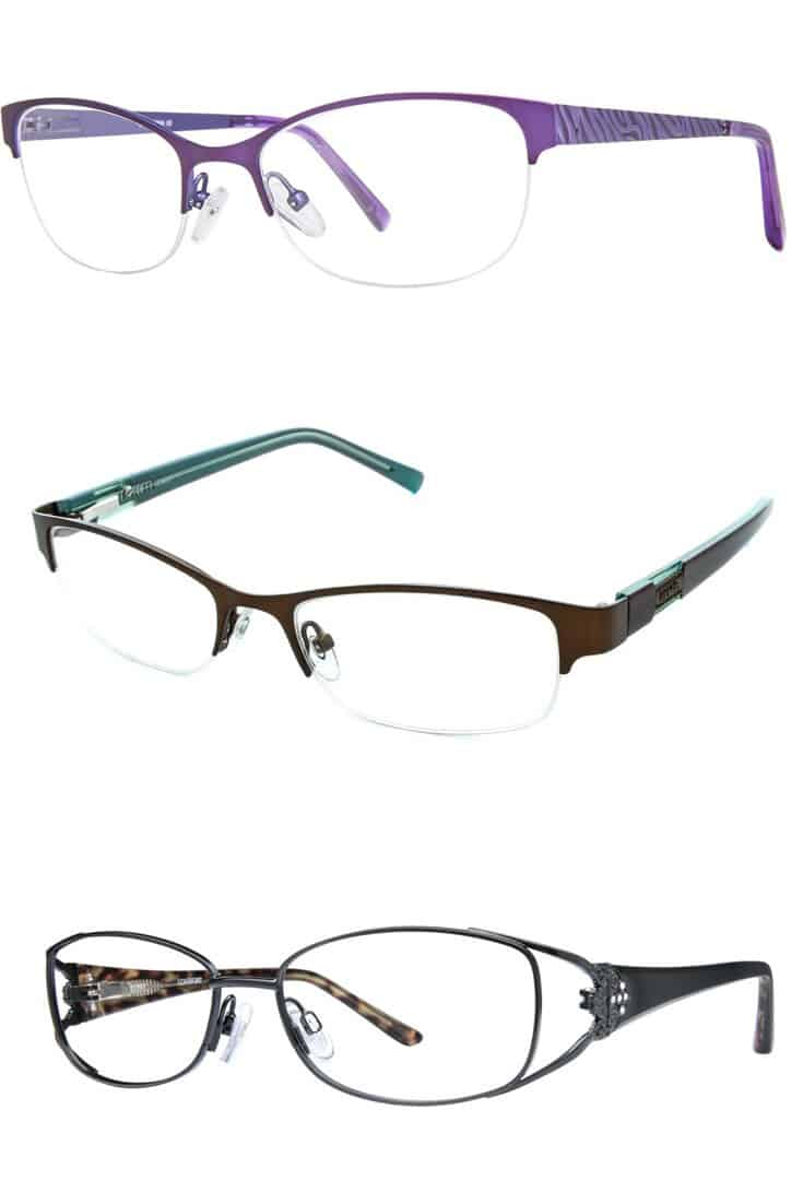collection of three eyeglass frame styles for square faces