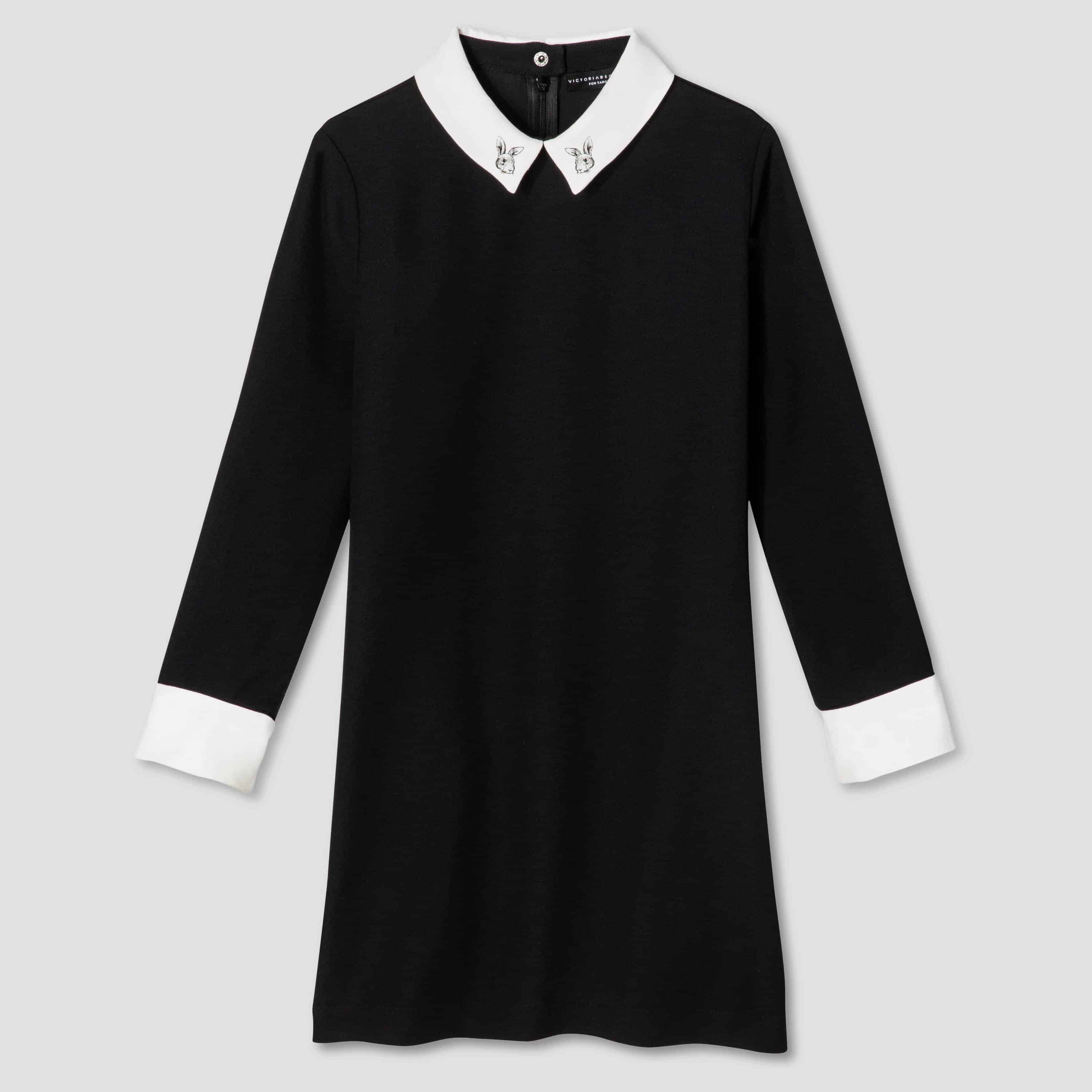 victoria beckham collection - black and white collared girls dress