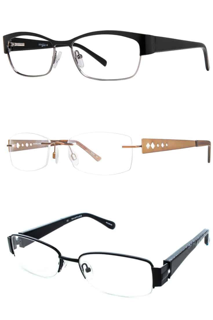 three eyeglass frames for heart-shaped faces