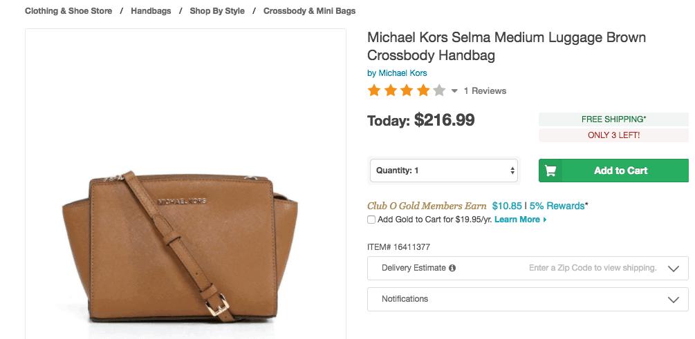 Michael Kors bag for $216 on Overstock