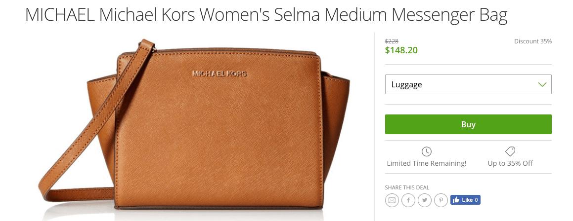 Screenshot of Michael Kors bag at Groupon for $148