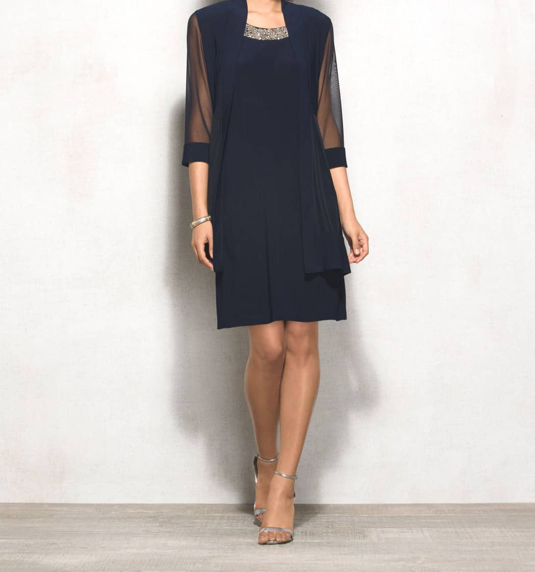 Mother of the Bride Dresses - navy, two-piece dress set with sheer sleeves and beaded neckline