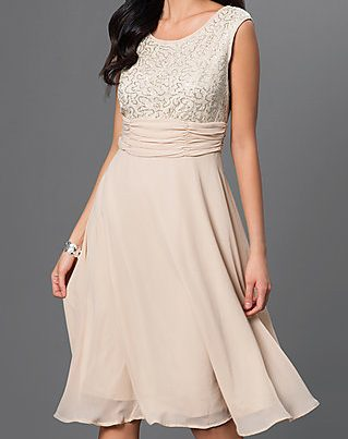 Mother of the bride dresses - soft pastel, empire waist dress with scoop neck