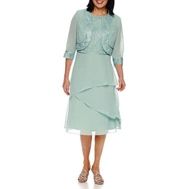 Mother of the Bride Dresses - Pastel, Layered Jacket Dress with 3/4 Sleeves