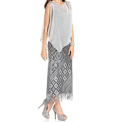 Mother of the bride dresses - silver crochet gown