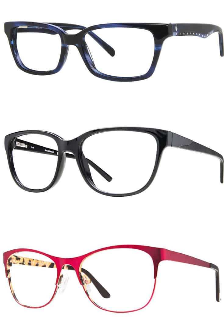 three eyeglass frames suitable for oblong faces