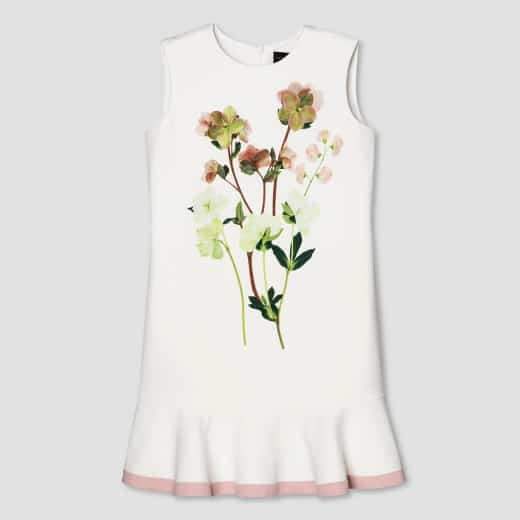 victoria beckham collection for target - girls while ruffle hem dress with flower detail