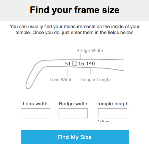 glasses usa review - how to find your frame size