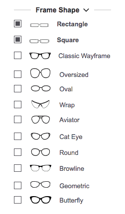 glasses usa site review - filter your frames by shape to find the best style