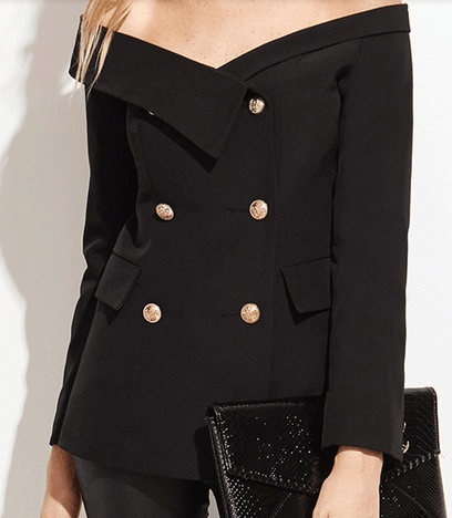 Black button-down blazer with fold-over collar