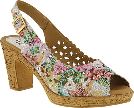 spring shoes - block heel slingback shoe with floral pattern