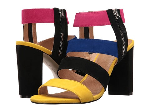 spring shoes collection - multi colored strappy sandal with block heel
