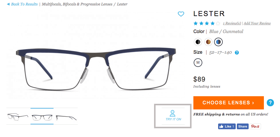 glasses usa review - virtual try on of frames