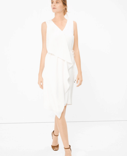 oscars style - white dress with cascading ruffles