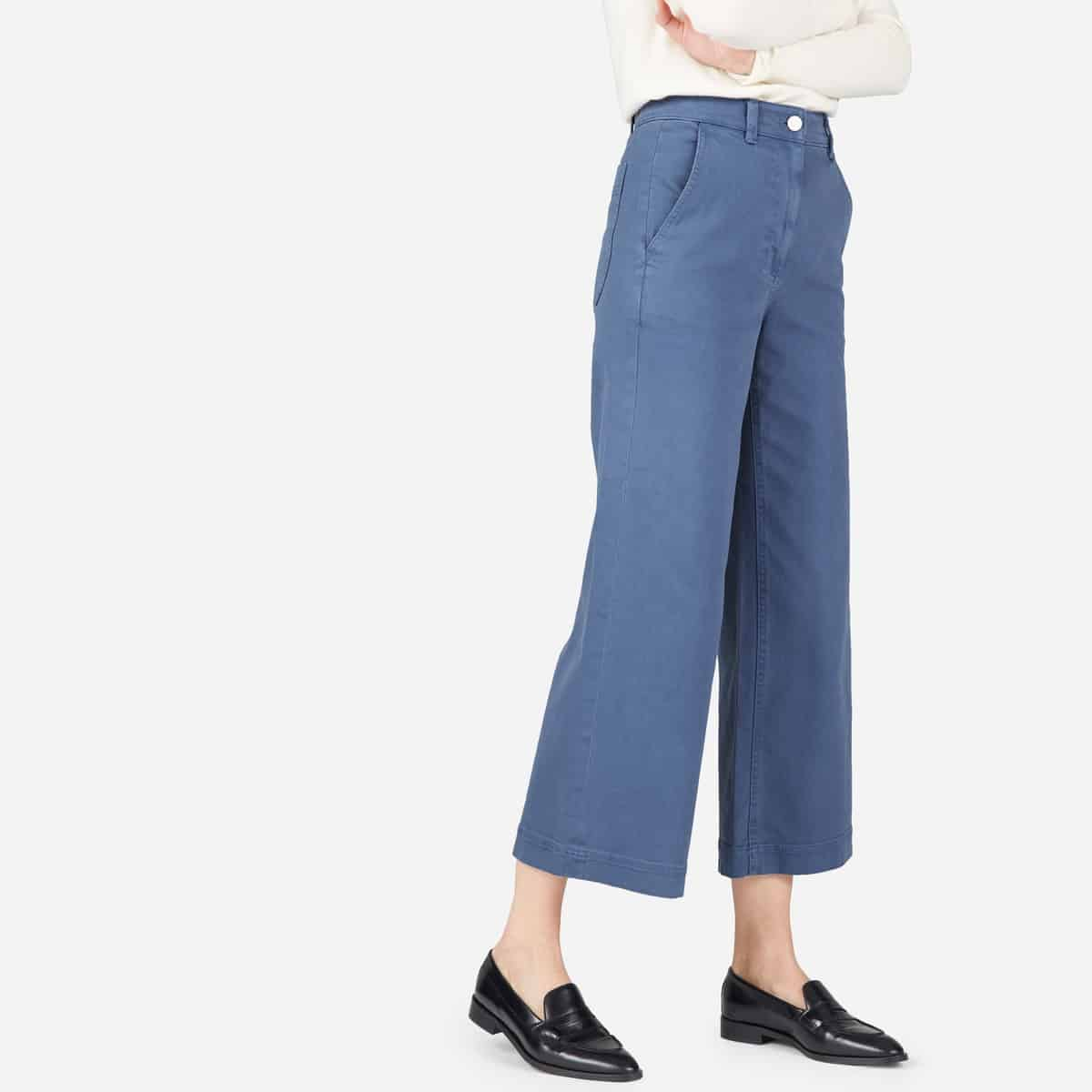 culottes - soft blue crop pants from Everlane