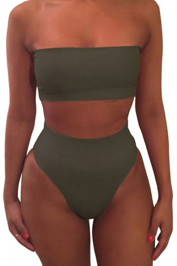 trending swimwear - two-piece, high thigh bikini with bandeau top in olive green