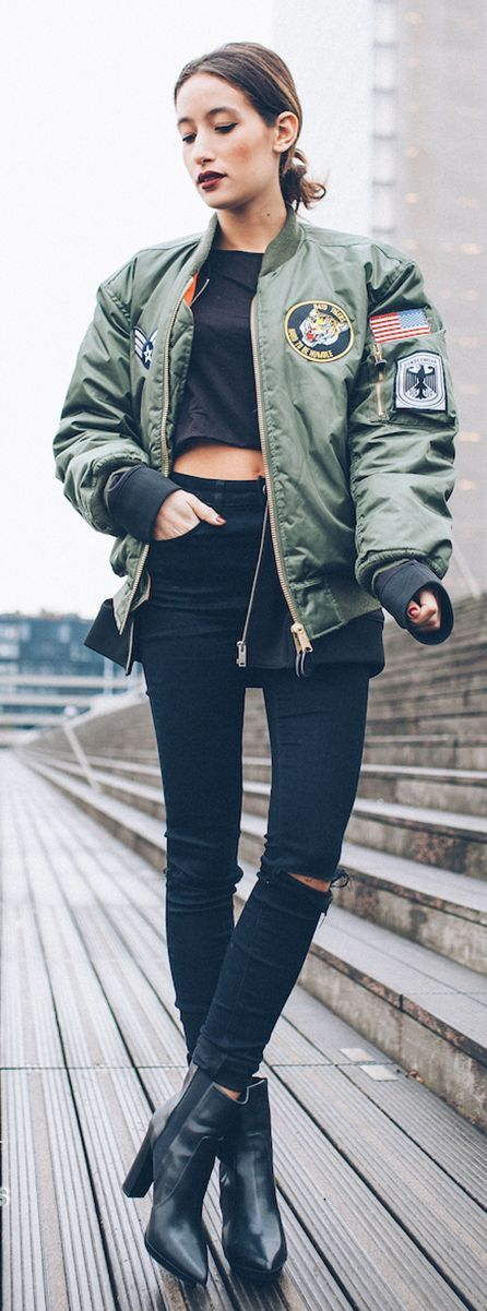 Military style bomber outfit