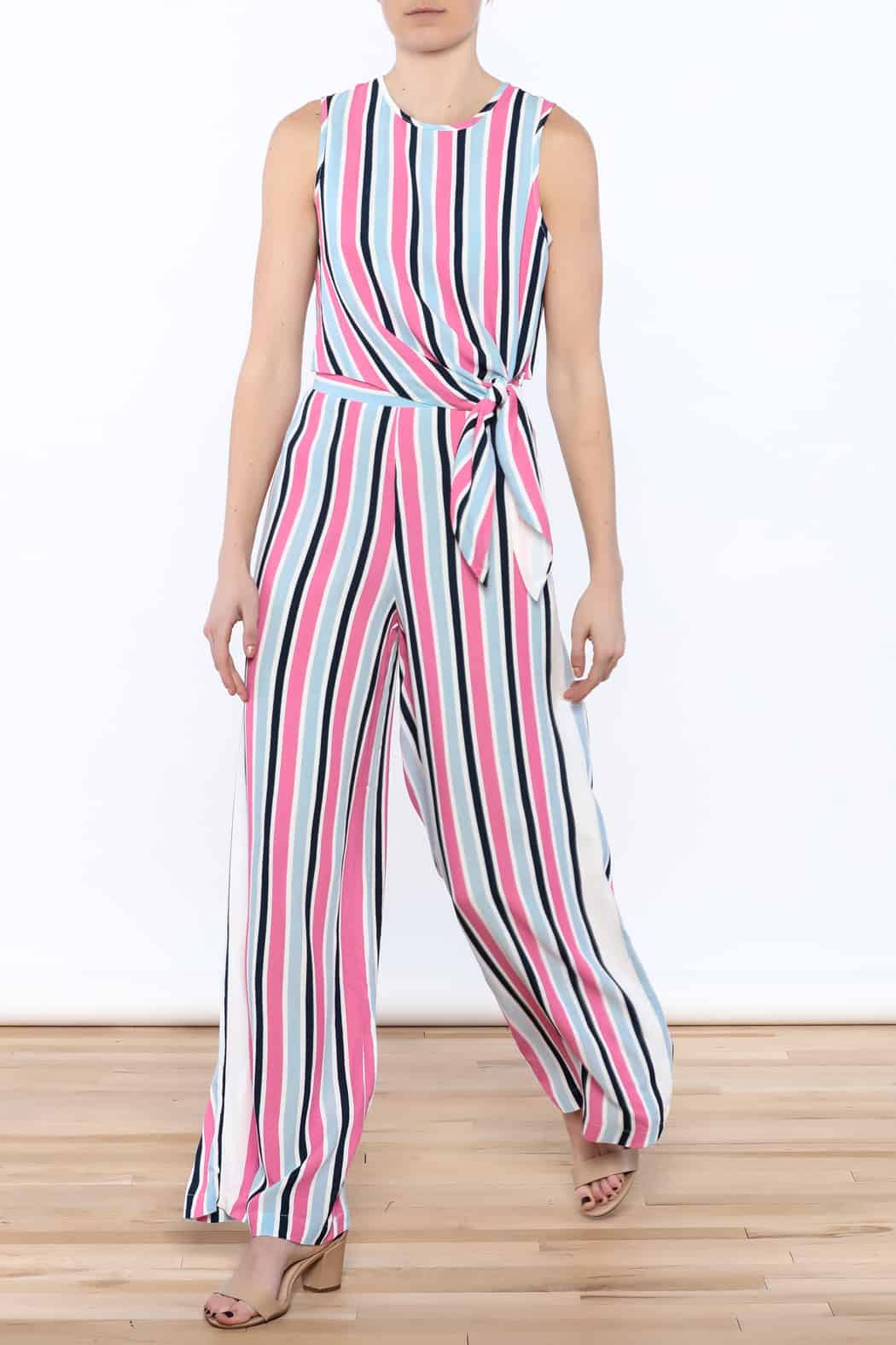 Pant suit with bright seaside stripes
