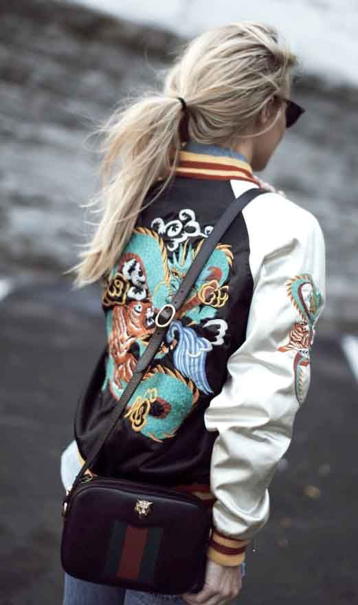 embroidered bomber jacket outfit
