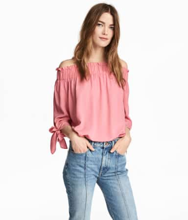Three-quarter sleeve, off the shoulder top from H&M.