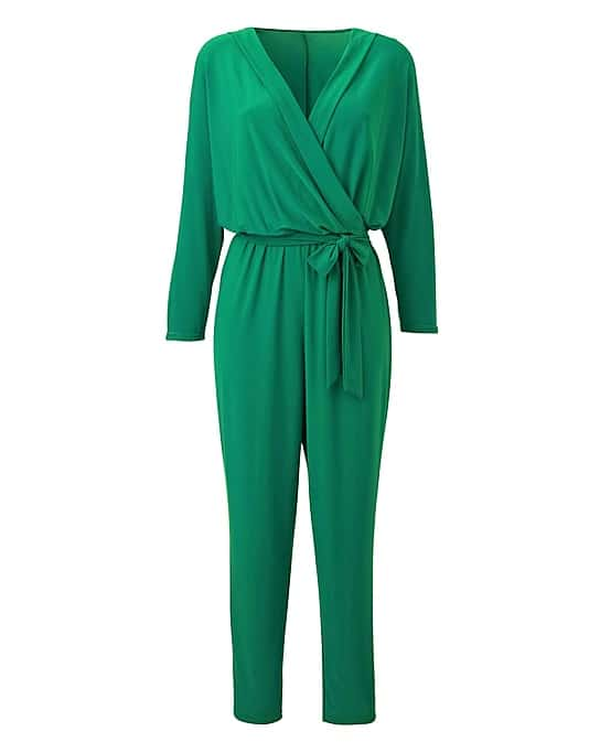 Green jumpsuit with tie at the waist