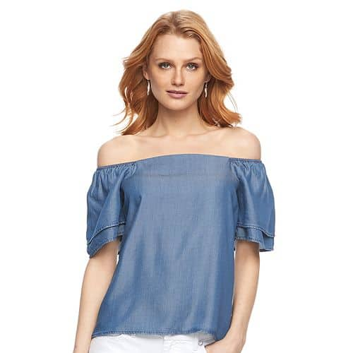 Chambray off-the-shoulder top from Kohl's.