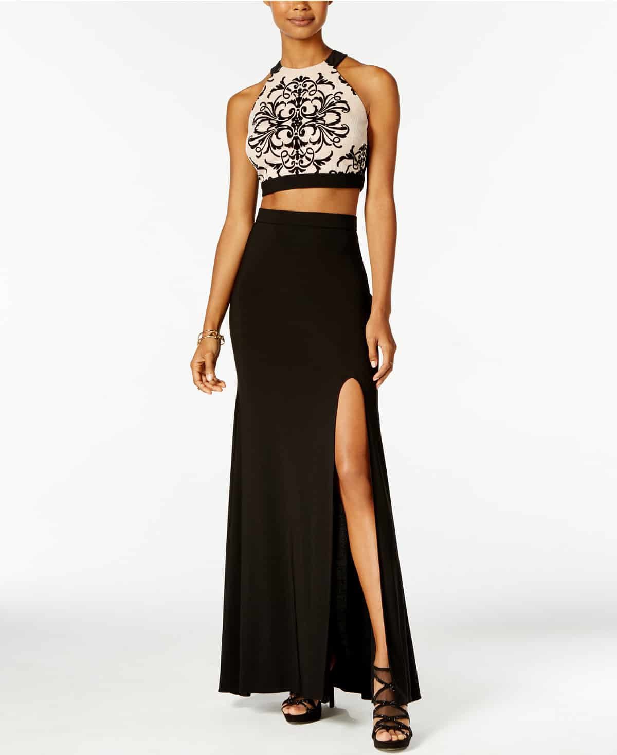 prom dress trends - the two-piece dress, a crop top and high-waited, full skirt