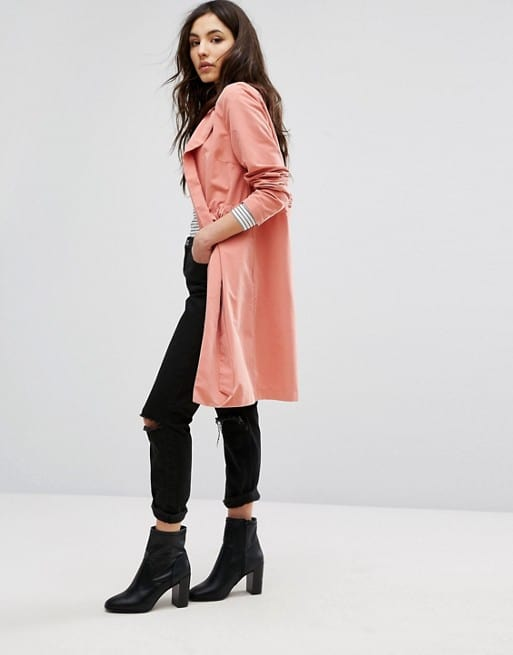 Summer fabrics trends - light coral polyester, nylon trench coat
