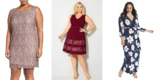 Collage of plus size special occasion dresses