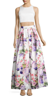 prom dress trends - the two piece prom dress in white and floral