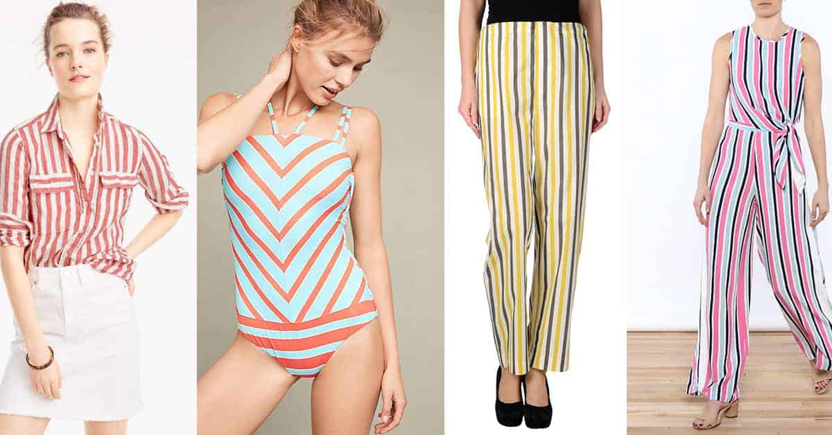 Collage of clothing with seaside stripes