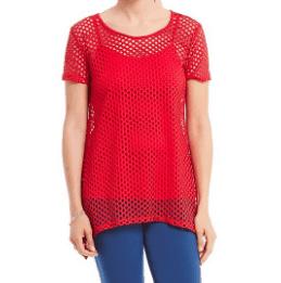 summer fabrics trends - bright orange tunic with mesh overlay