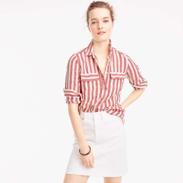 Linen button down top in seaside stripes