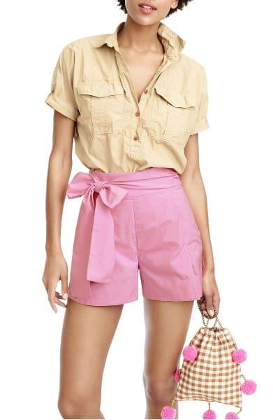 Summer fabrics trends - soft pink, tie-waist short