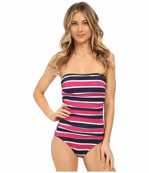 bathing suit with blue and pink seaside stripes