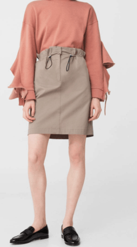 elastic waist collection - nude, tie-waisted skirt
