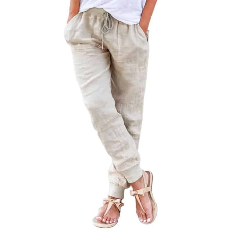 Elastic waistband collection - jogger-style linen pants