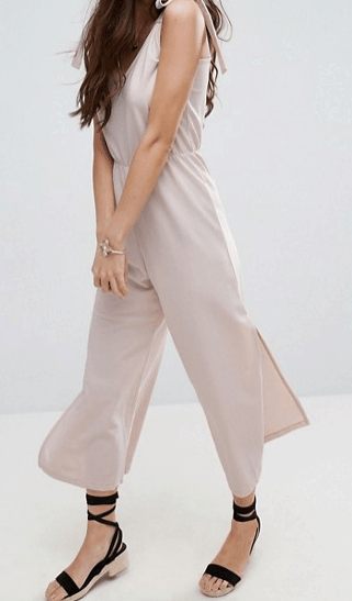 elastic waist collection - Nude-colored, wide-legged jumpsuit