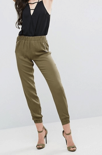 elastic waist collection - olive green, jogger-style pants