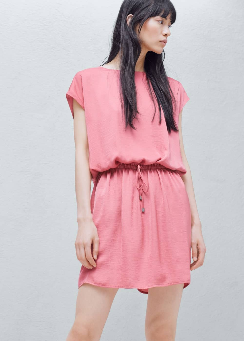 elastic waist collection - soft pink, tie-waisted dress
