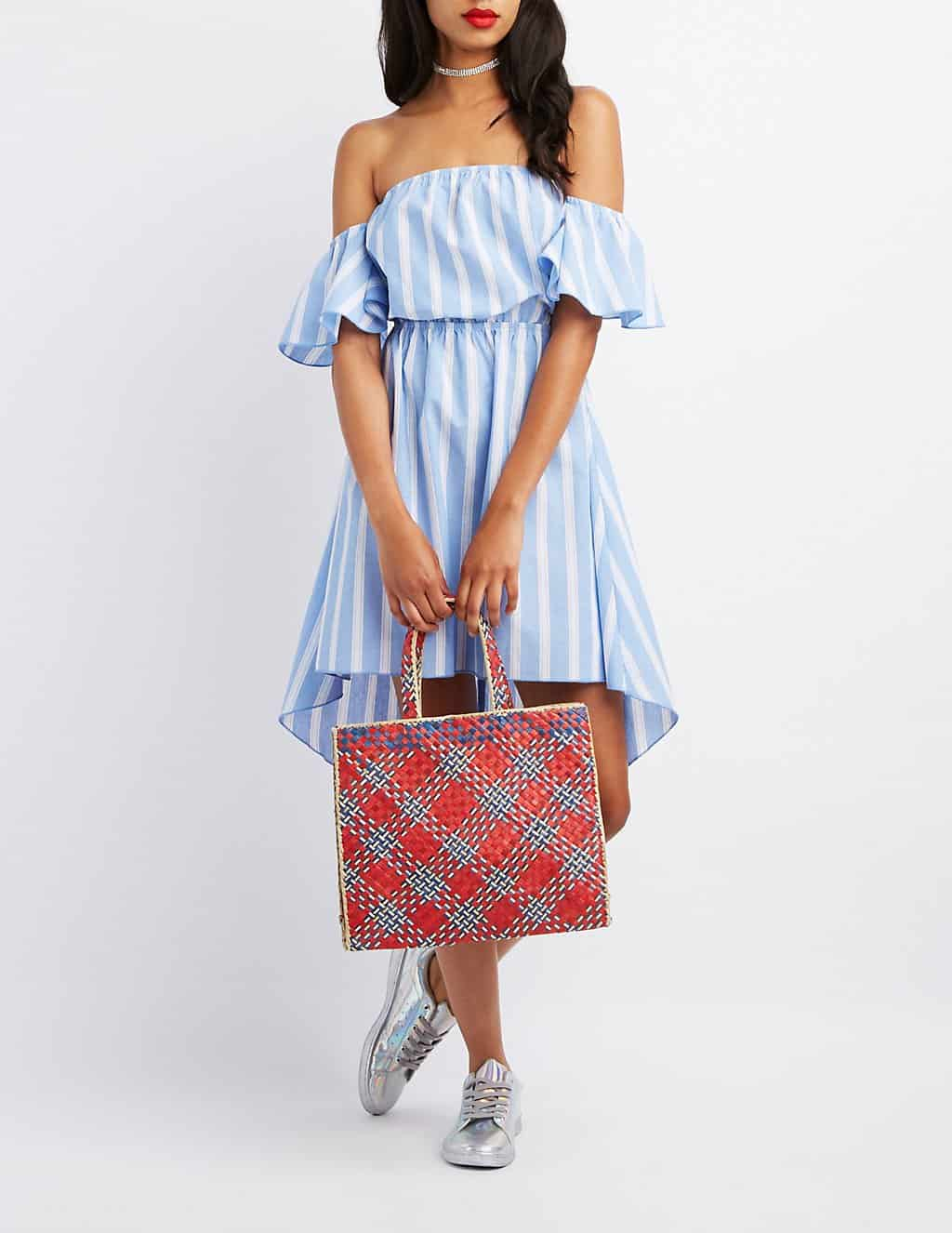 off the shoulder dress in blue and white stripe