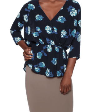elastic waist collection - peplum top in floral print
