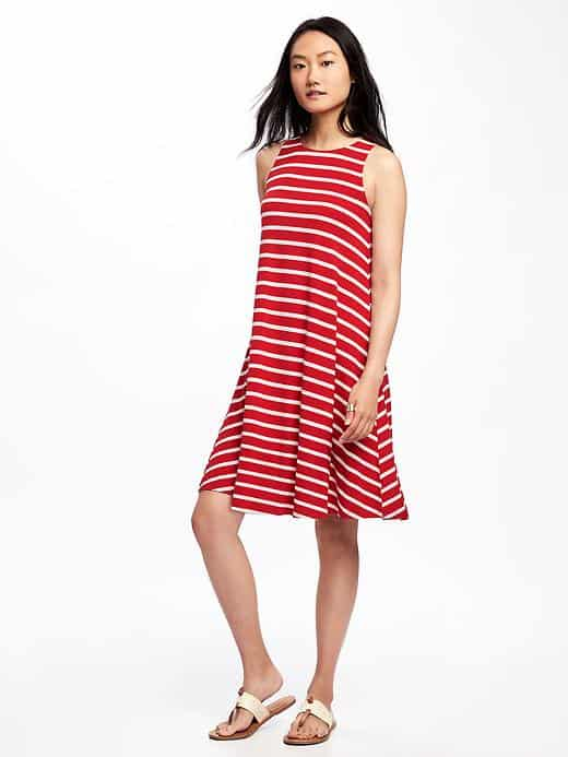 4th of July Fashion Collection: Red and White Striped Jersey Swing Dress
