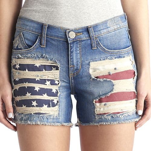 4th of July Fashion Collection: Distressed denim shorts with American flag showing through
