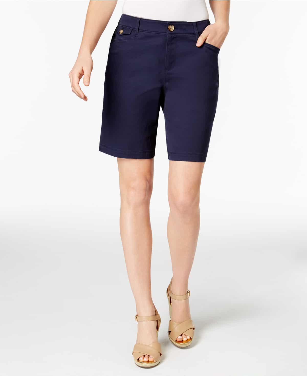 Mid-length shorts in navy from Macy's