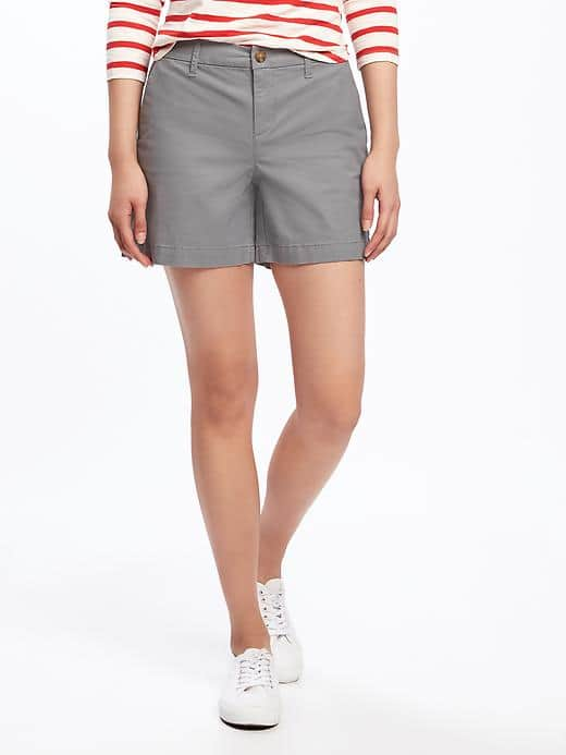Khaki shorts for women over 50 who are comfortable with a shorter length.